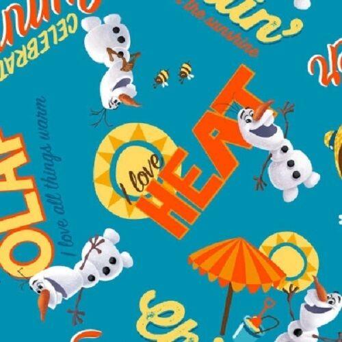 Cotton Fabric SALE Springs Disney Frozen 53005 Aqua Olaf Chillin/' Toss