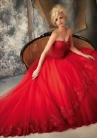 Red Sweetheart Lace tulle Applique wedding dress formal evening party prom gown