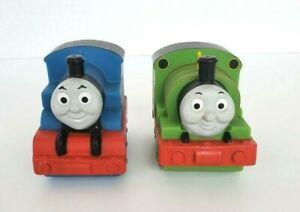 Thomas-amp-Friends-Percy-Thomas-Bath-Tub-Pool-Water-Squirt-Train-Toys-Lot-of-2