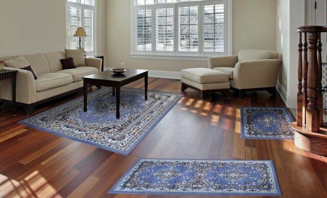 Throw Rugs Blue 3 Piece Set Living Room Bedroom Area Floor Mat Runner Ter