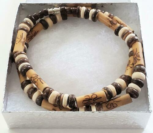 """8mm Brown Coco Wood /& Long Bamboo Tube Beads Necklace Men/'s Surfer Choker 19/"""""""
