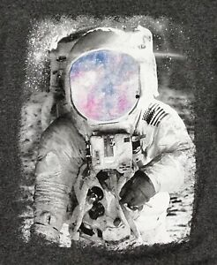 Psychedelic-Apollo-Moon-Shot-Astronaut-Graphic-T-Tee-Shirt-Size-M-Charcoal-Gray