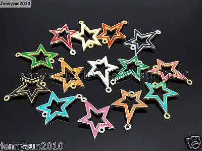 20Pcs Colorful Smooth Metal Stars Bracelet Connector Charm Beads Mixed