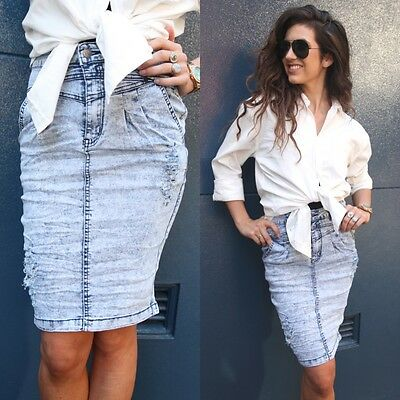 sale Acid washed high waisted midi denim pencil forever SKIRT 6 8 hot XS new