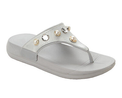 WOMENS SILVER CASUAL FLAT BEACH WEDDING PARTY SUMMER SANDALS LADIES UK SIZE 3-8