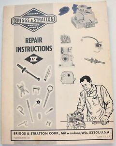 Vintage Briggs & Stratton Lawnmower Engine Motor Repair Manual Guide Book