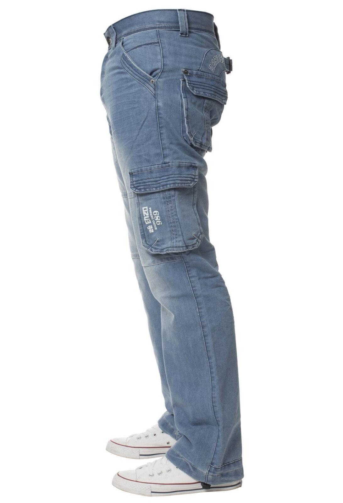 Mens Enzo EZ356 Branded Denim Jeans Regular Fit Western Trousers Pants