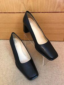 M\u0026S Women's Black Leather Square Toe
