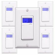 5PK 7-Day Programmable Digital Timer In-Wall Socket Outlet Light Switch