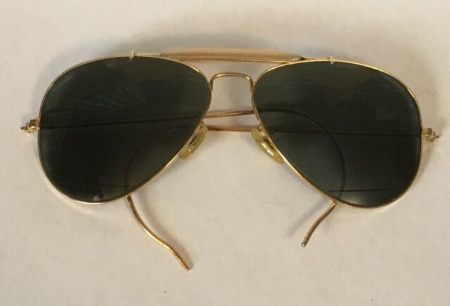 Vintage B&L Ray Ban Aviator Sunglasses USA Wrap Around Gold Tone 58[]14