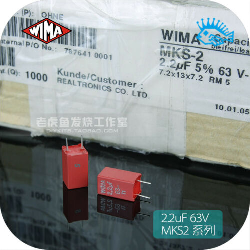 2//20pcs 2.2uF 63V MKS2 WIMA 7.2x13x7.2mm RM5 2u2 5/% Capacitor