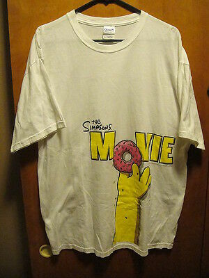 The Simpsons Movie Homer Holding A Donut Promo T Shirt Xl White Ebay