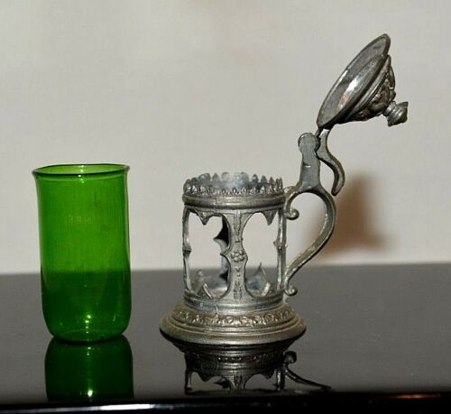 Dollhouse Miniature Glass Bottle Lantern Green Vase Pewter 1:12