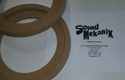 "MDF FLUSH Speaker Rings 6 1//2/"" LARGE Size FLUSH Mount 3//4/"" Thick One Pair"