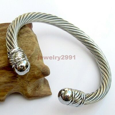 Fashion Men/Womens Silver 316L Stainless Steel Cable Wire Open Cuff Bangle