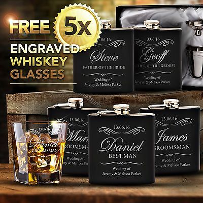 5 x Engraved Hip Flask Gift Personalised Wedding Birthday Groomsman Bridal Party
