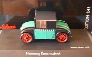 HANOMAG-KOMMISSBROT-TAXI-SCHUCO-02976-1-43-1-43-GERMAN-GRUN-SCHWARZ-BLACK-GREEN