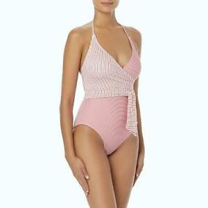 74cd79a7291 $122 NWT VINCE CAMUTO Papaya V Neck Wrap Tie One Piece Swimsuit 8 ...