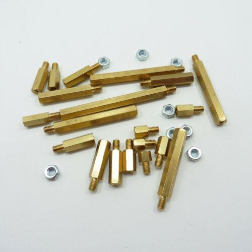 Brass M4 Male Hexagonal Pillar with Nut Hex Spacer Threaded Standoff