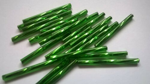Czech Twisted Bugle Beads 30mm 10 Grams Silver Lined Dark Green