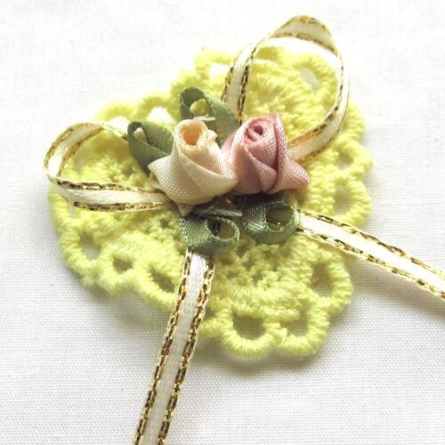10PCS Ribbon Flowers Bows Padded Appliques Wedding Decor Lots Mix
