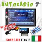 "AUTORADIO Touch 2 Din 7"" Universale MP3,MP4 DVR SD BLUETOOTH AUX + RETROCAMERA"