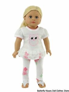 Pink-Lacy-Owl-Top-Flower-Leggings-18-in-Doll-Clothes-Fits-American-Girl