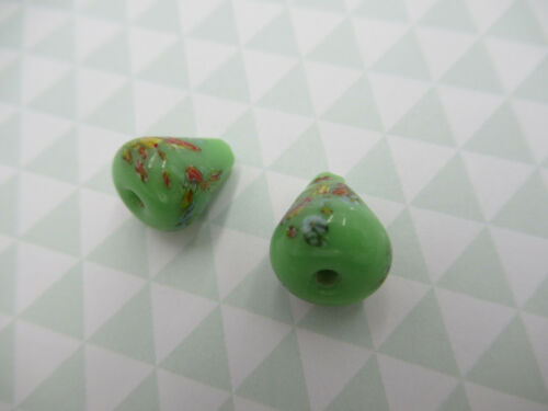 Vintage Glass Teardrop Beads Pear Beads Green Tombo Beads 12X9mm From Japan 6pcs