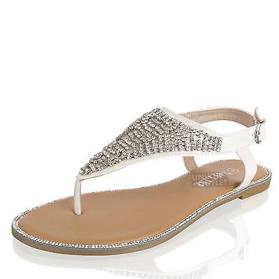 Damen Sommer Kristall Diamant Gladiator Sandalen Strand Party Schuh Größe