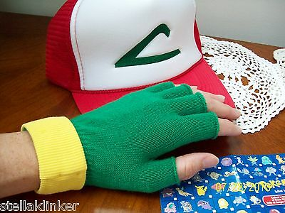 POKEMON Costume  ~ ASH  KETCHUM cosplay   Hat & Gloves Set  USA