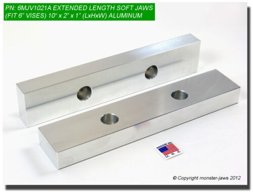 """10 x 2 x 1/"""" Oversized Aluminum Soft Jaws for 6/"""" Vise Vice Extension 6MJV1021A"""