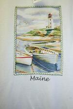 White Size L Large Maine State Tshirt Tee Souvenir Lighthouse Ocean Sea Row Boat