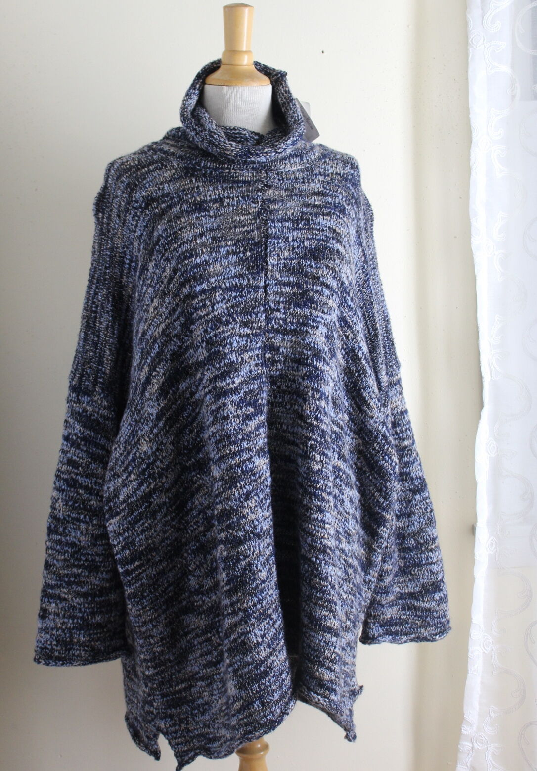 NWT Eskandar Plush Luxurious bluee Mix Merino Wool Monks Collar Tunic Sweater O S