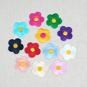5/100Pcs Flower Patch Iron/Sew-On Daisy flower Embroidered Applique Motif  Badge | eBay