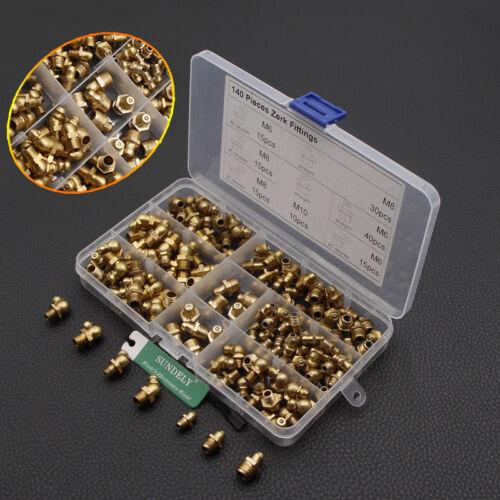 140x Hydraulic Metric Brass Zerk Grease Nipple Fitting Assortment 45° 90° 180°
