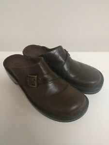 Brown Leather Slip-On Mules Clogs