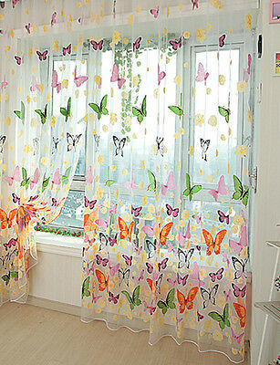 New Beautiful Butterfly Print Sheer Room Divider Window Panel Curtains 1pcs