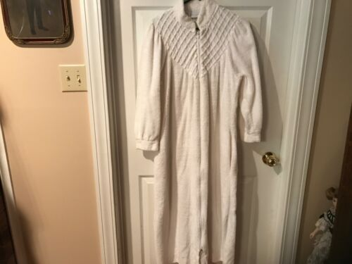VINTAGE WHITE TERRY CLOTH ROBE ZIP LONG SMALL