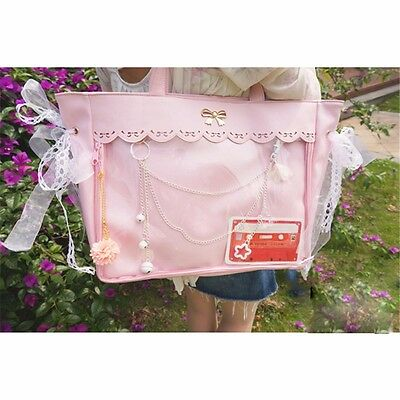 Women/'s Transparent Clear Cosplay Handbags Lolita Lace Bow Shoulder Bag Ita Bag