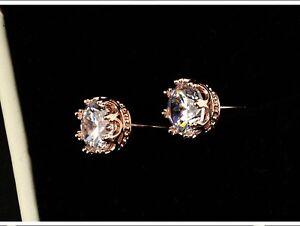 Lujo-Corona-Pendientes-de-boton-cristal-Oro-Rosa-Oro-Regalo-De-Joyeria