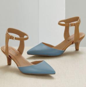 Monroe-amp-Main-Color-Block-Ankle-Strap-Heels-Pumps-Dress-Shoes-Teal-Tan-6-7-5