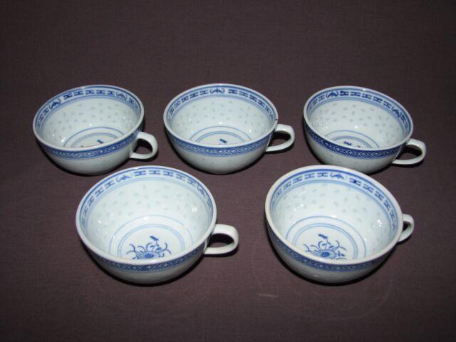 5 Vtg Chinese Porcelain Blue White Flower Translucent Rice Grain Handled Cups
