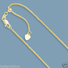 """1mm Up to 22"""" Solid Adjustable Wheat Spiga Chain Necklace Real 14K Yellow Gold"""