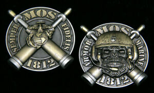 MOS-1812-M1A1-TANK-CREWMAN-CHALLENGE-COIN-US-MARINES-PIN-UP-BATTLE-TANK-TANKER