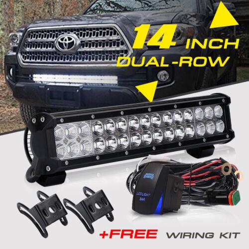 Wiring Kit 14inch 90W LED Light Bar Work SPOT FLOOD FOR Combo Beam For JEEP ATV