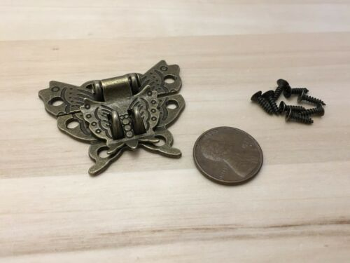 1x  Butterfly Antique Bronze Hasp Latch Wooden Box Mini Cabinet Buckle Locks C33