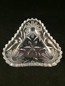 Floral-Glass-Triangle-Scalloped-Bowl-Dish-6-034-x6-034-x6-034-2-034-Depth