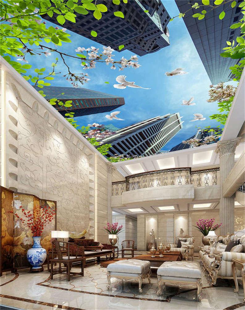 Erect Modern Top 3D Ceiling Mural Full Wall Photo Wallpaper Print Home Decor