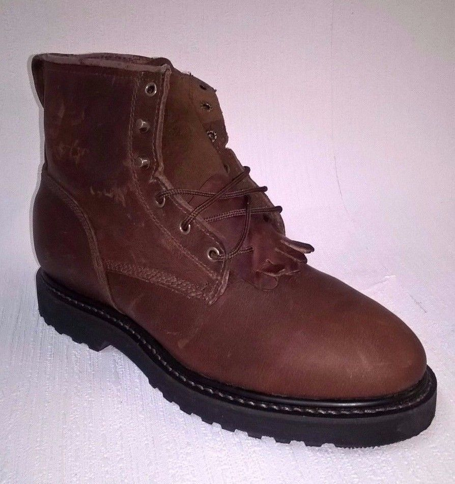 DOUBLE  HH Steel-toe Lace Up Brown Women BOOTS, 8M