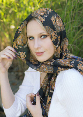 "Navy Blue Royal Theme Scarf Beautiful TASSEL   Shawl   Muslim Hijab   72"" x 30"""